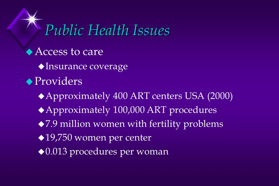 Public Health Issues Access to care Providers Insurance coverage