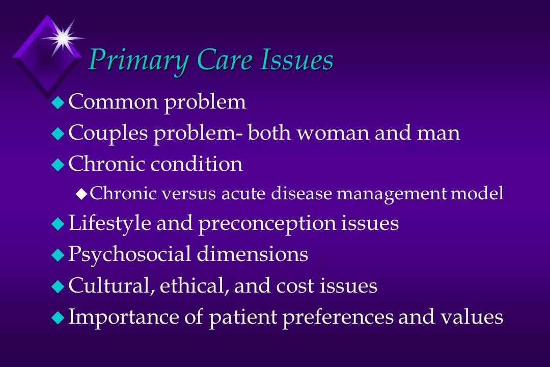 Primary Care Issues Common problem Couples problem- both woman and man