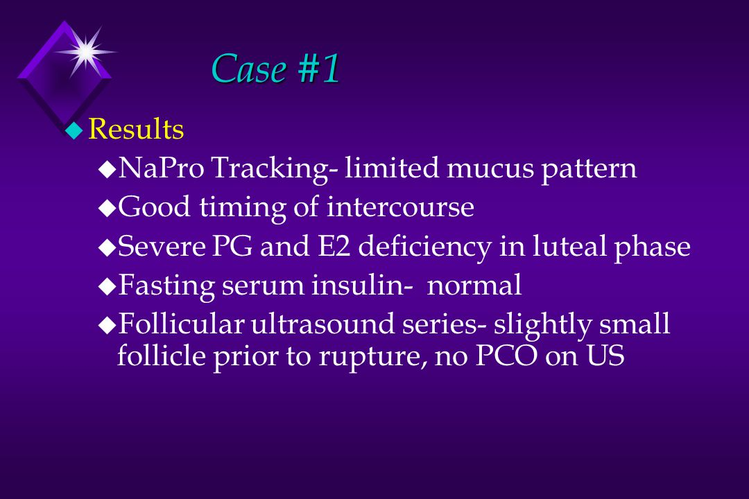 Case #1 Results NaPro Tracking- limited mucus pattern