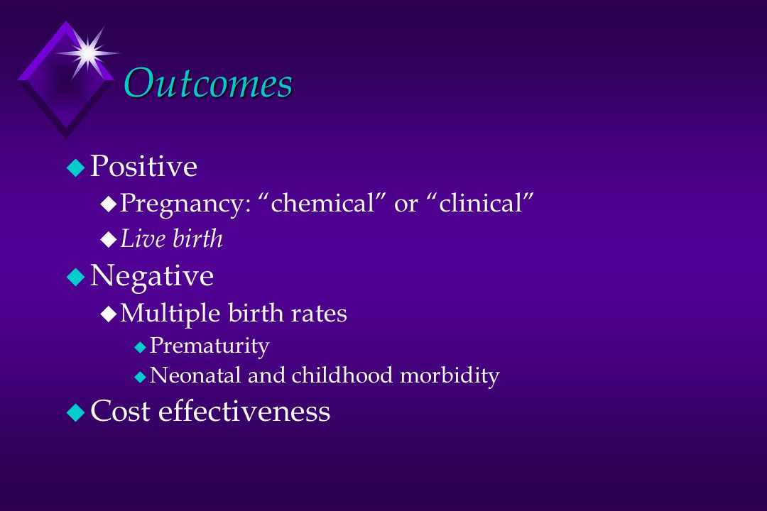 Outcomes Positive Negative Cost effectiveness