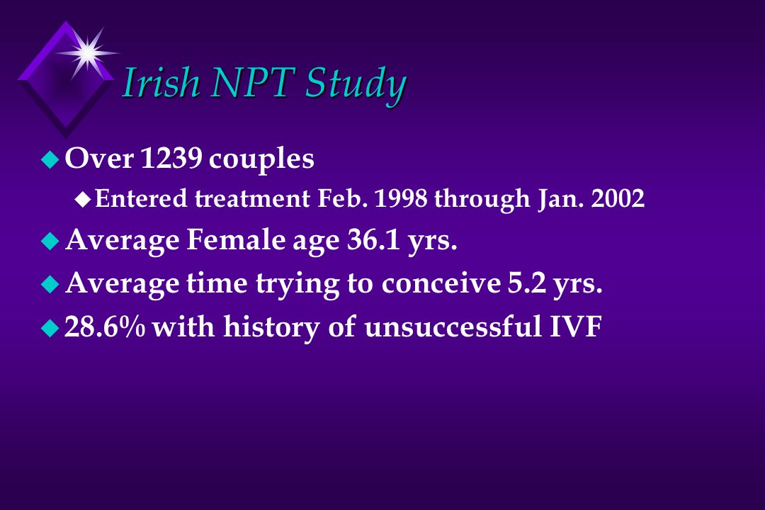 Irish NPT Study Over 1239 couples Average Female age 36.1 yrs.