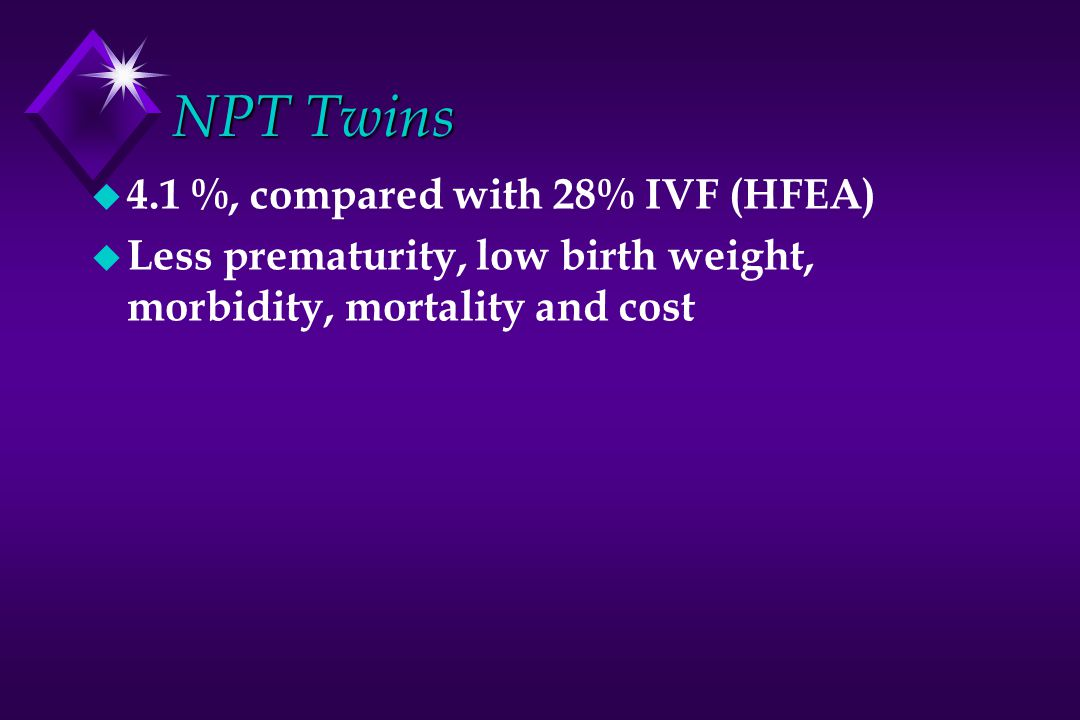 NPT Twins 4.1 %, compared with 28% IVF (HFEA)