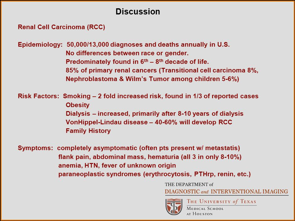 Discussion Renal Cell Carcinoma (RCC)
