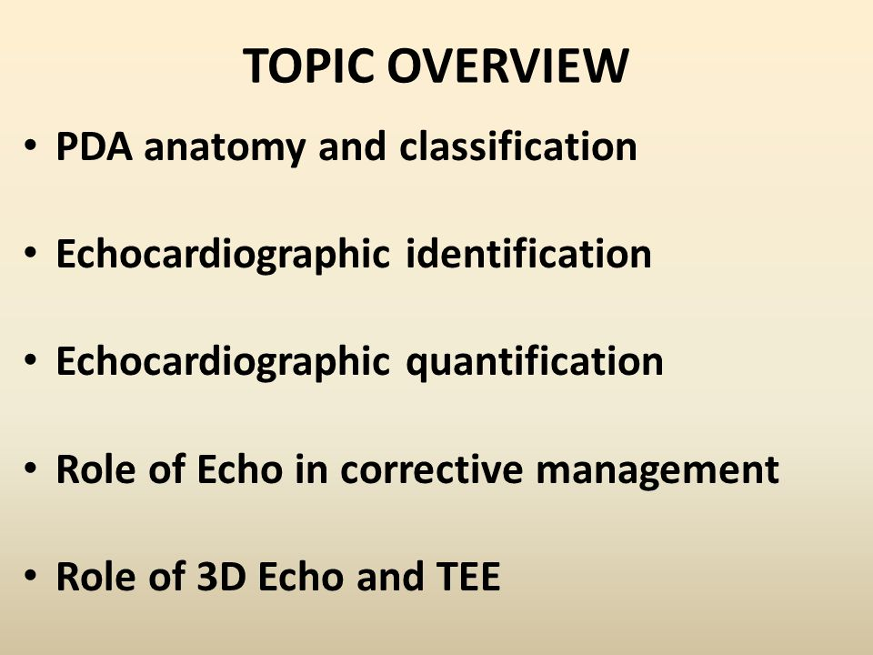 TOPIC OVERVIEW PDA anatomy and classification