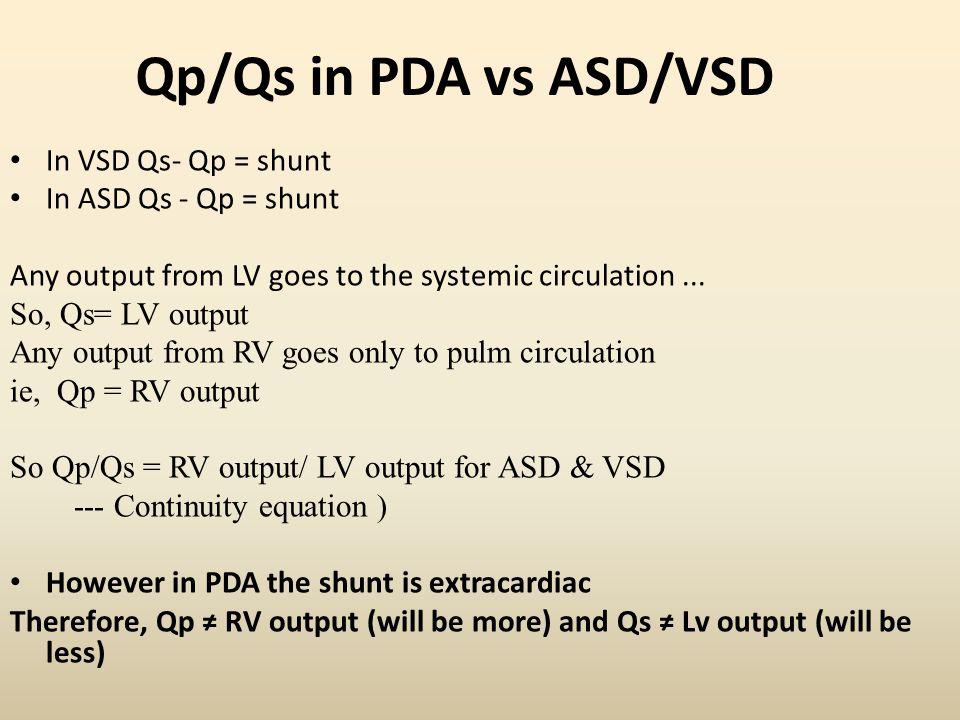 Qp/Qs in PDA vs ASD/VSD In VSD Qs- Qp = shunt In ASD Qs - Qp = shunt
