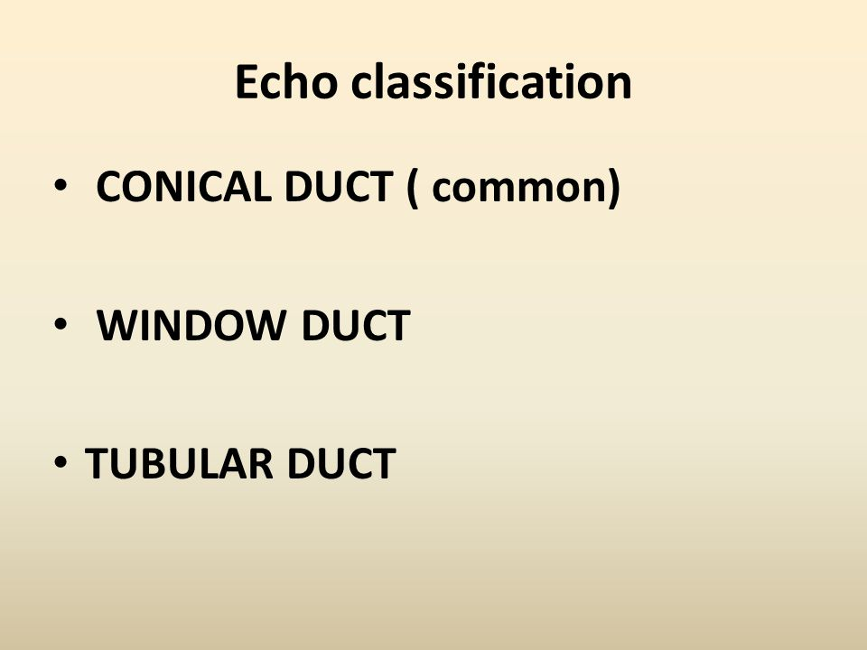 Echo classification CONICAL DUCT ( common) WINDOW DUCT TUBULAR DUCT