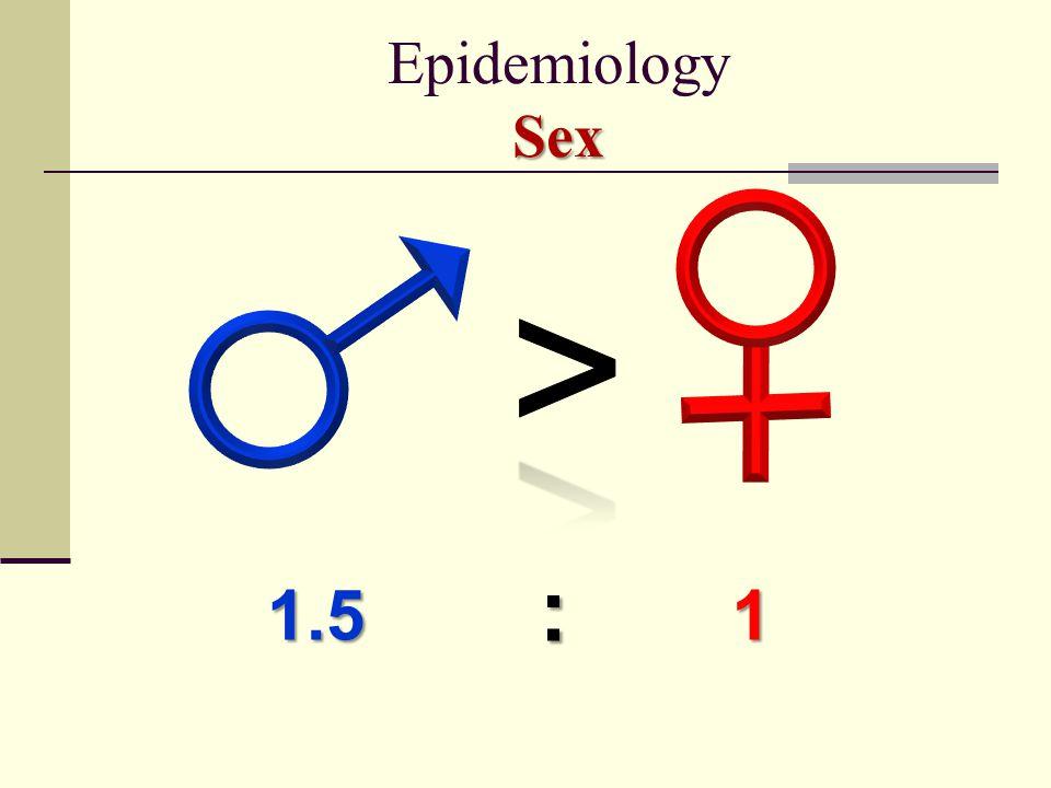Epidemiology Sex > : 1.5 1