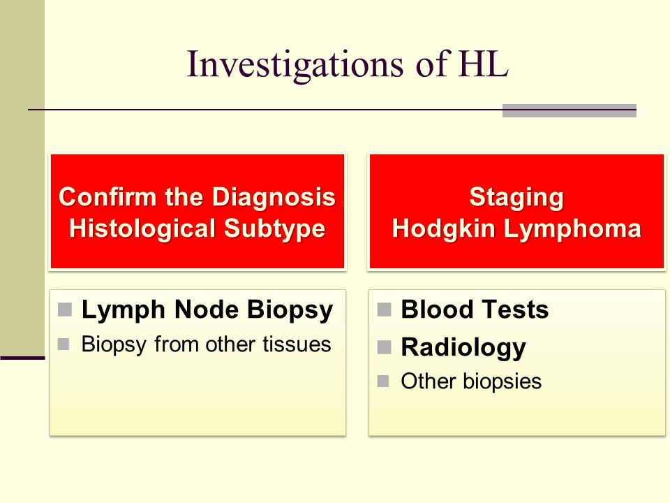 Investigations of HL Confirm the Diagnosis Histological Subtype