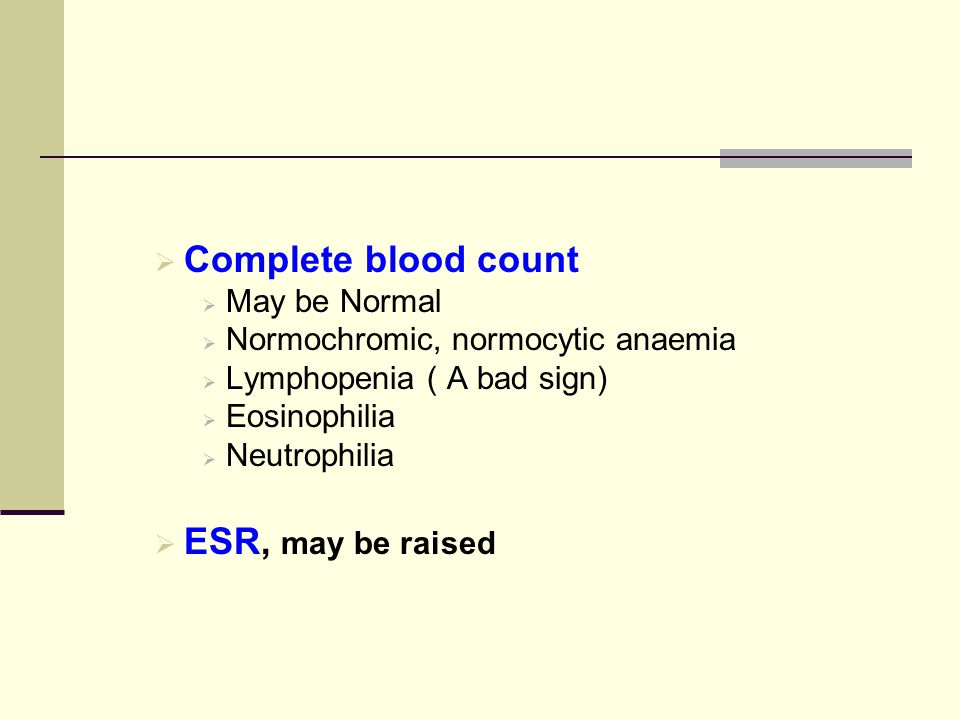 Complete blood count ESR, may be raised May be Normal