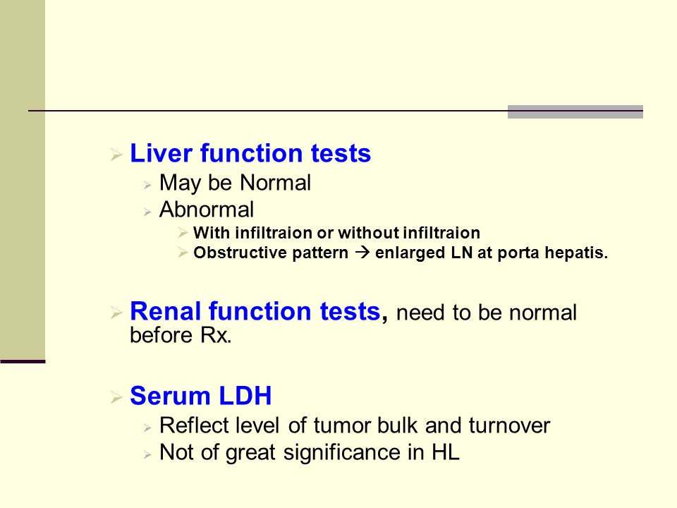 Renal function tests, need to be normal before Rx.