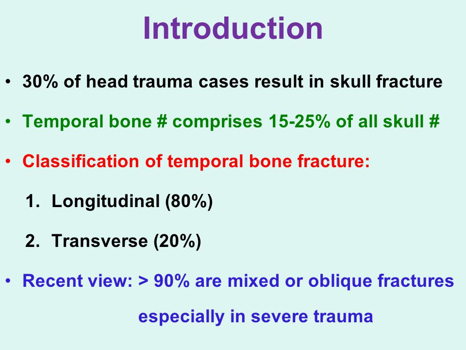 Introduction 30% of head trauma cases result in skull fracture