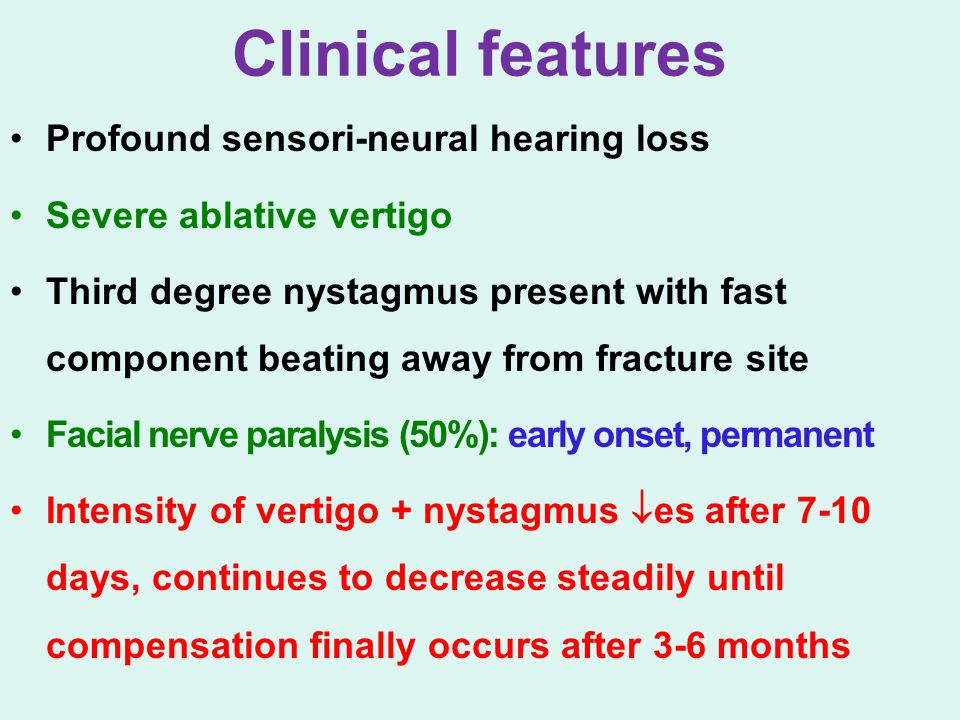 Clinical features Profound sensori-neural hearing loss