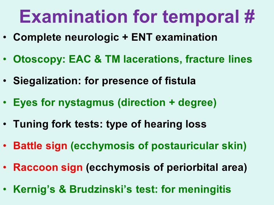 Examination for temporal #