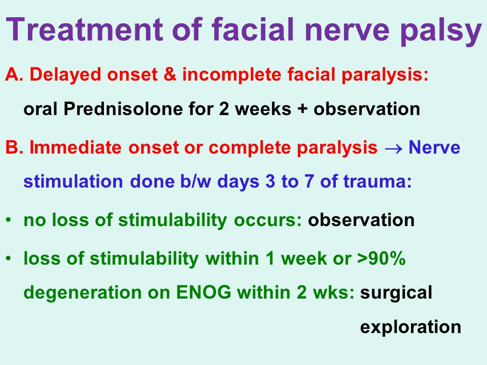 Treatment of facial nerve palsy