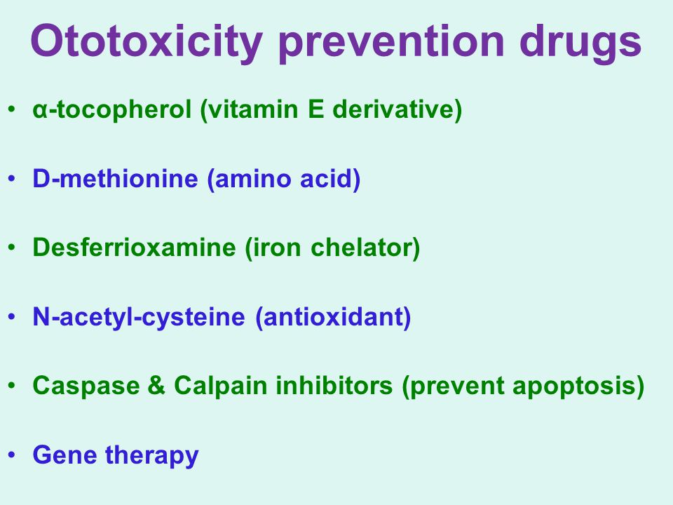 Ototoxicity prevention drugs