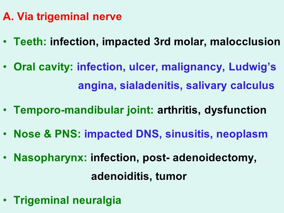 A. Via trigeminal nerve Teeth: infection, impacted 3rd molar, malocclusion.
