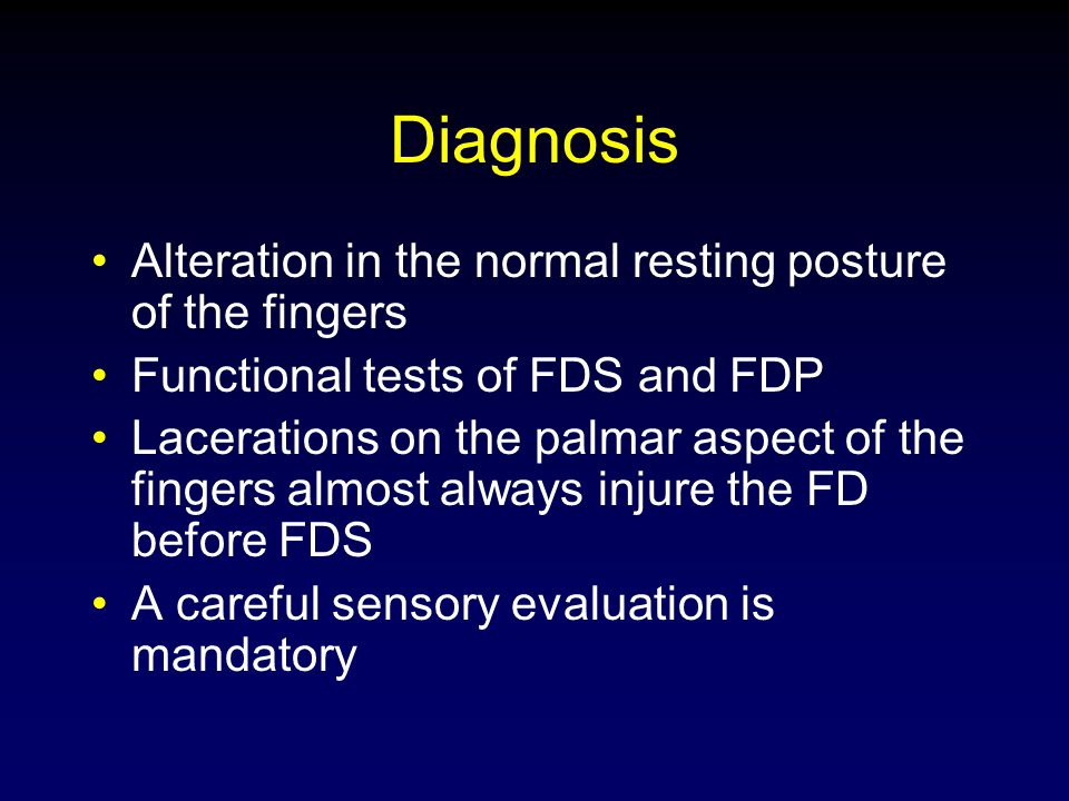 Diagnosis Alteration in the normal resting posture of the fingers