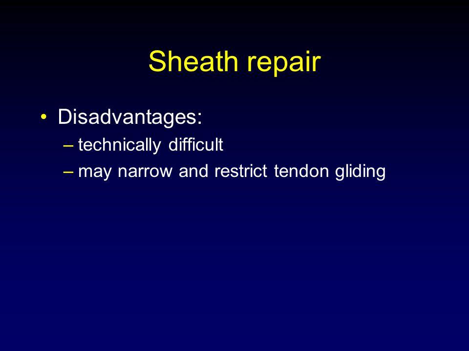 Sheath repair Disadvantages: technically difficult