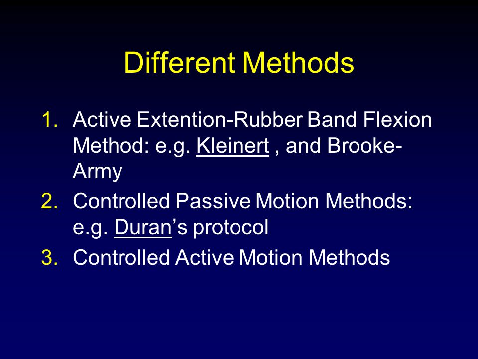 Different Methods Active Extention-Rubber Band Flexion Method: e.g. Kleinert , and Brooke-Army.