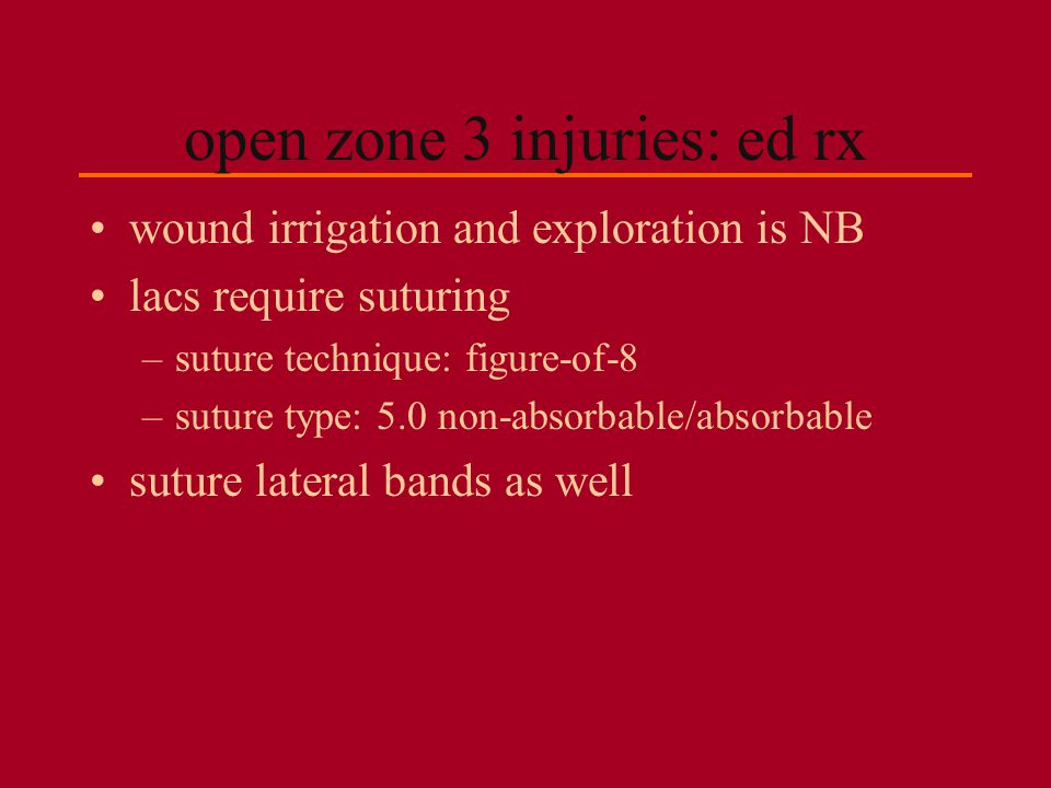 open zone 3 injuries: ed rx