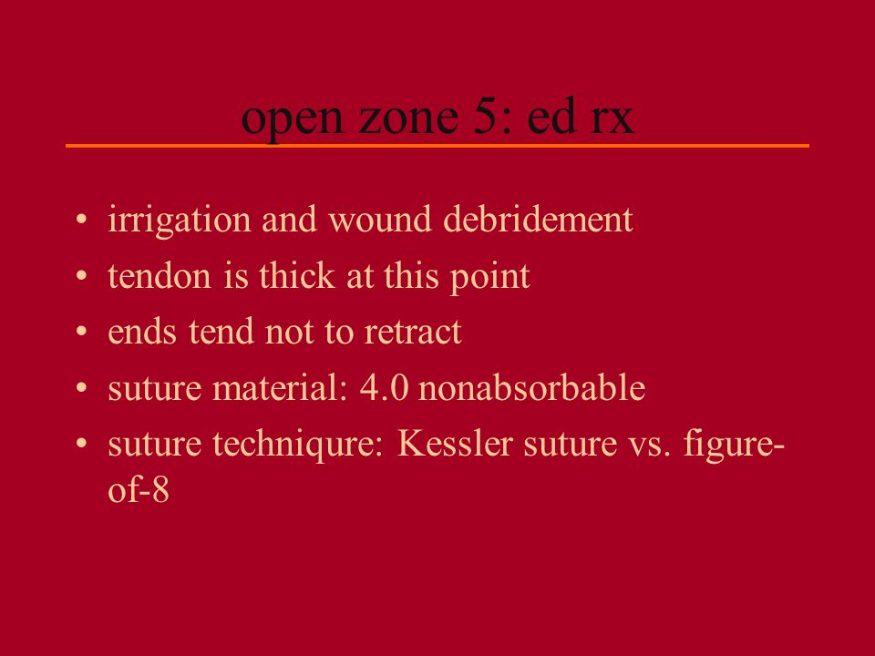 open zone 5: ed rx irrigation and wound debridement