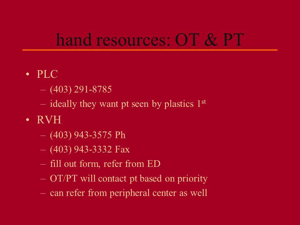 hand resources: OT & PT PLC RVH (403) 291-8785