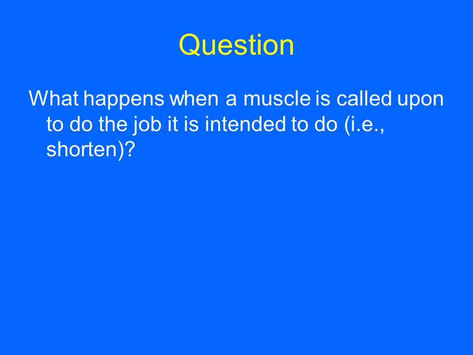 Question What happens when a muscle is called upon to do the job it is intended to do (i.e., shorten)