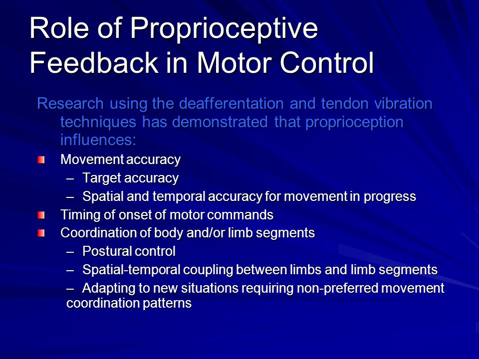 Role of Proprioceptive Feedback in Motor Control