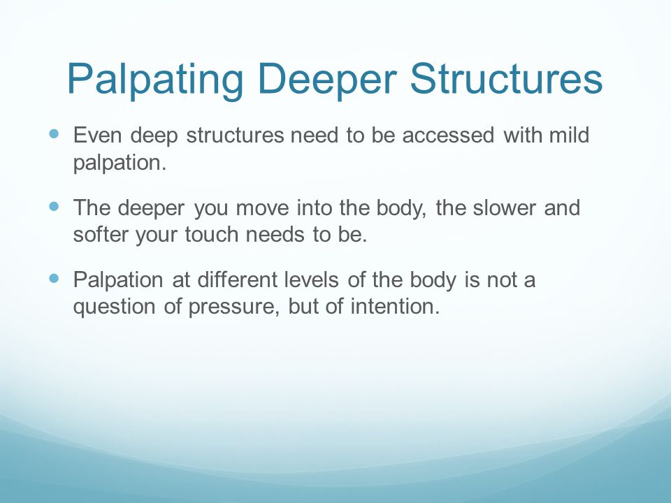 Palpating Deeper Structures