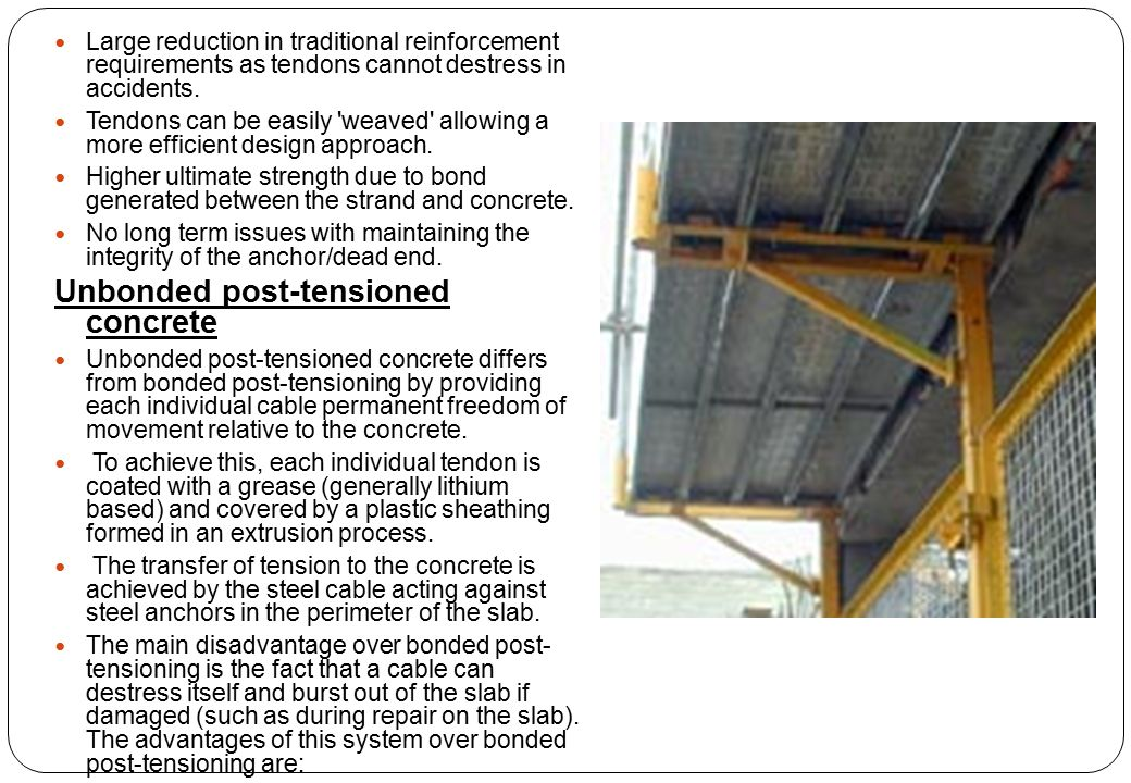 Unbonded post-tensioned concrete