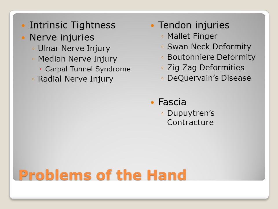 Problems of the Hand Intrinsic Tightness Nerve injuries