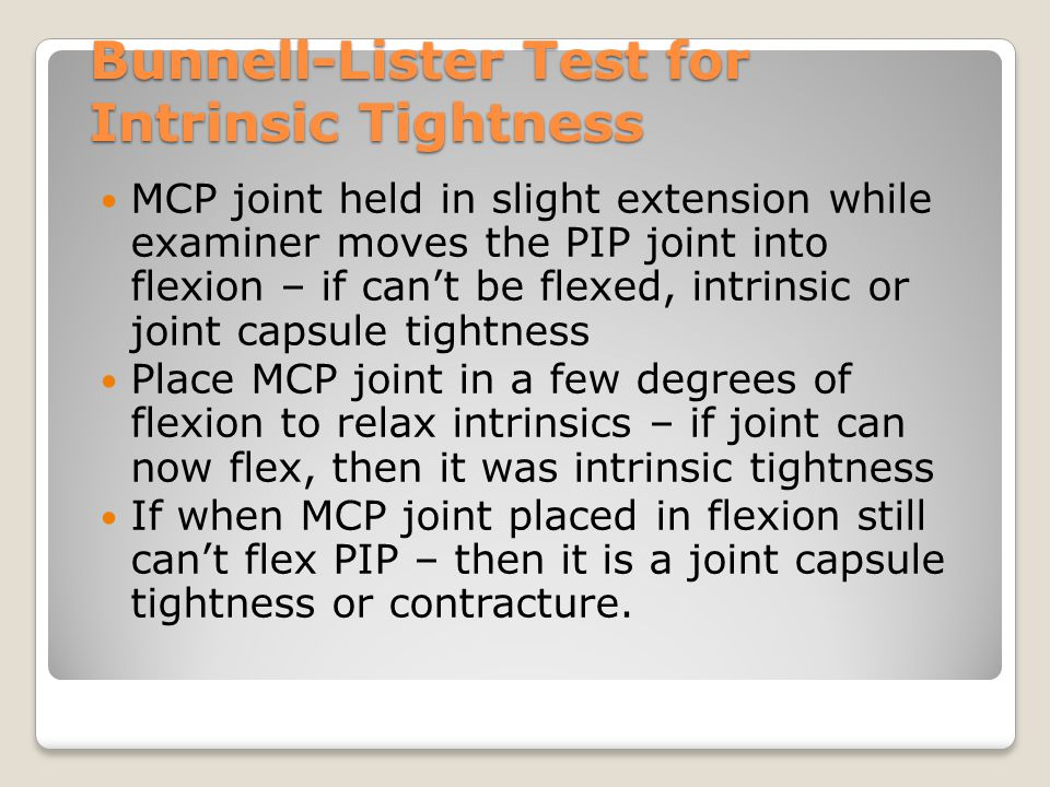 Bunnell-Lister Test for Intrinsic Tightness
