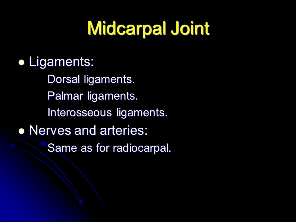 Midcarpal Joint Ligaments: Nerves and arteries: Dorsal ligaments.