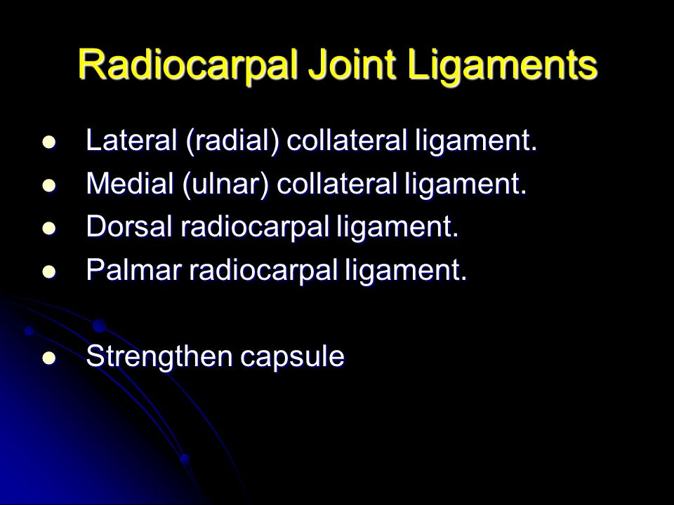 Radiocarpal Joint Ligaments