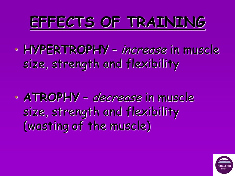 EFFECTS OF TRAINING HYPERTROPHY – increase in muscle size, strength and flexibility.