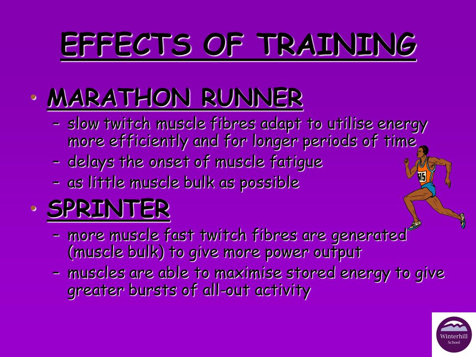 EFFECTS OF TRAINING MARATHON RUNNER SPRINTER