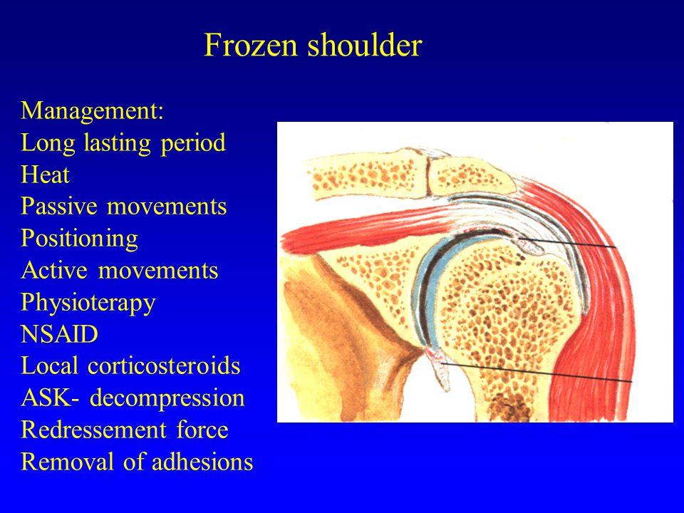 Frozen shoulder Management: Long lasting period Heat Passive movements