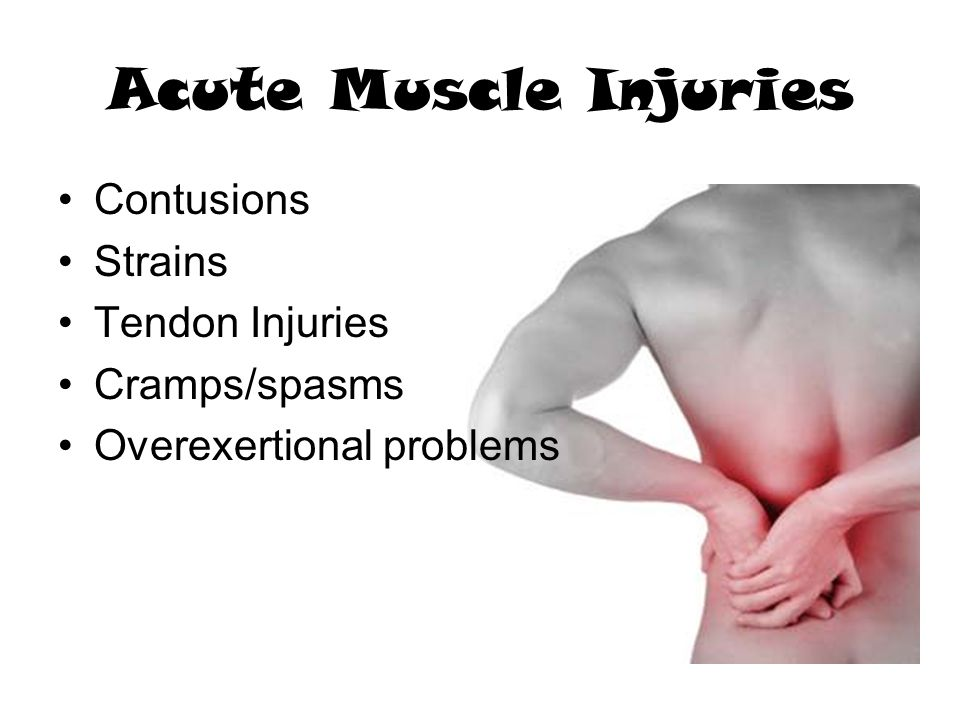 Acute Muscle Injuries Contusions Strains Tendon Injuries Cramps/spasms