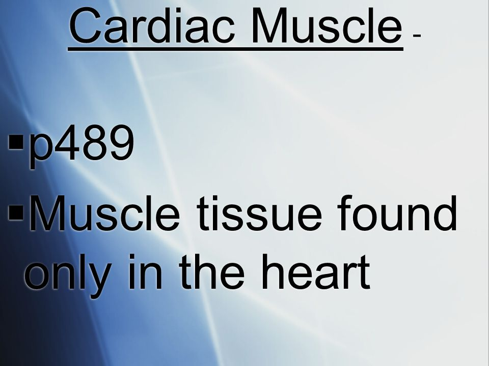 Cardiac Muscle - p489 Muscle tissue found only in the heart