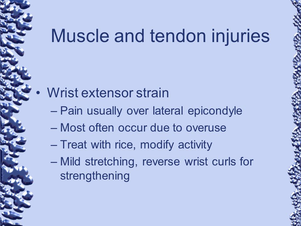 Muscle and tendon injuries