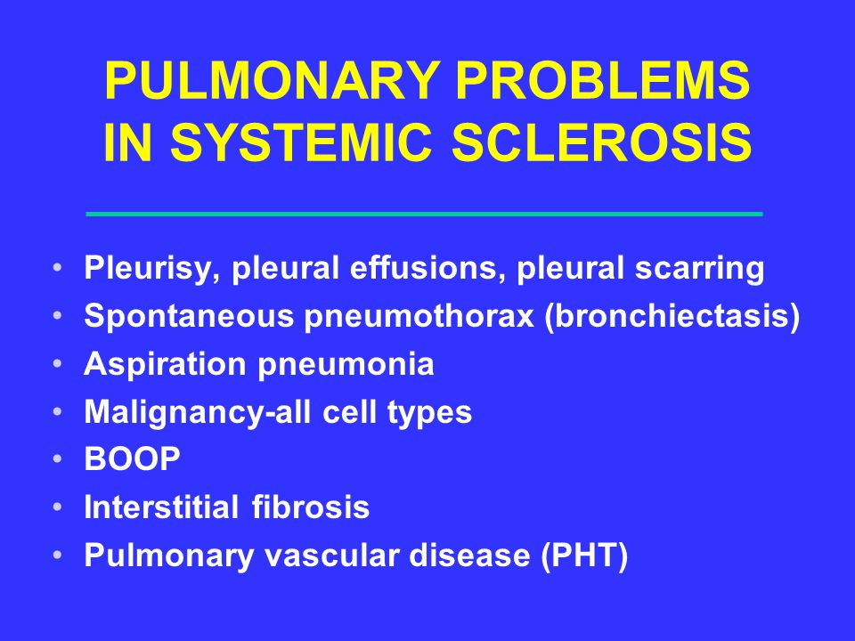PULMONARY PROBLEMS IN SYSTEMIC SCLEROSIS