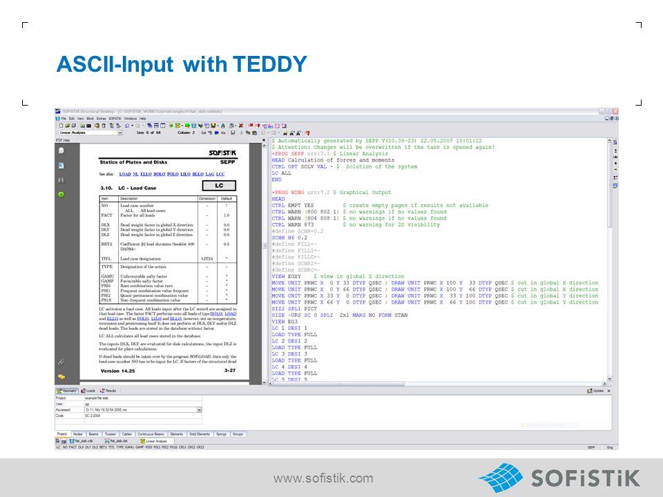 ASCII-Input with TEDDY