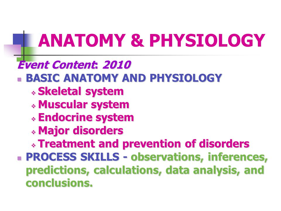 ANATOMY & PHYSIOLOGY Event Content: 2010 BASIC ANATOMY AND PHYSIOLOGY