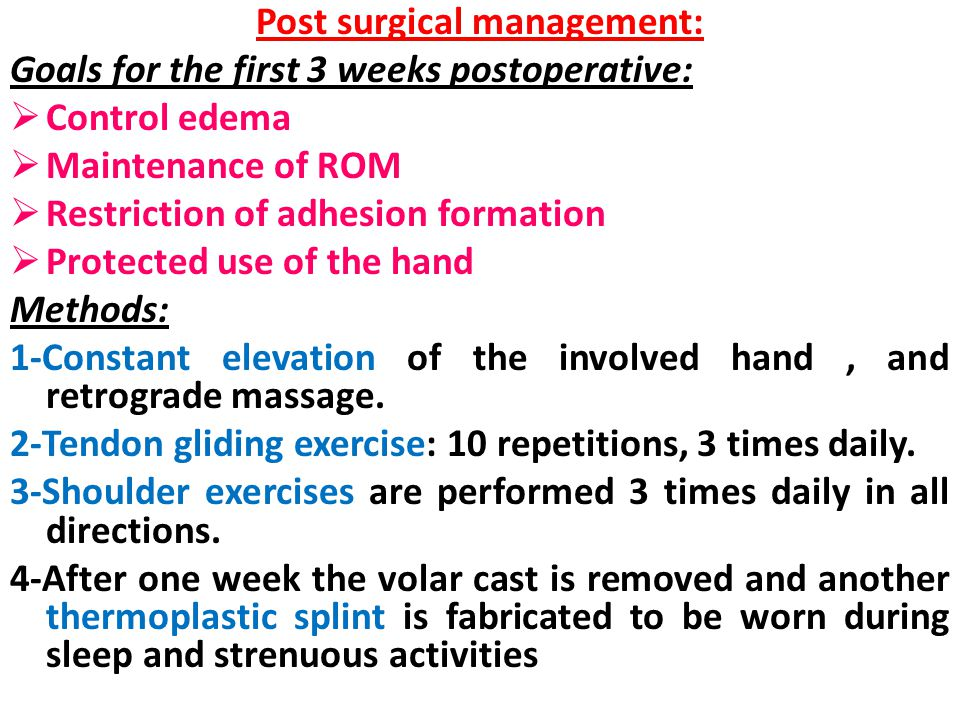 Post surgical management: