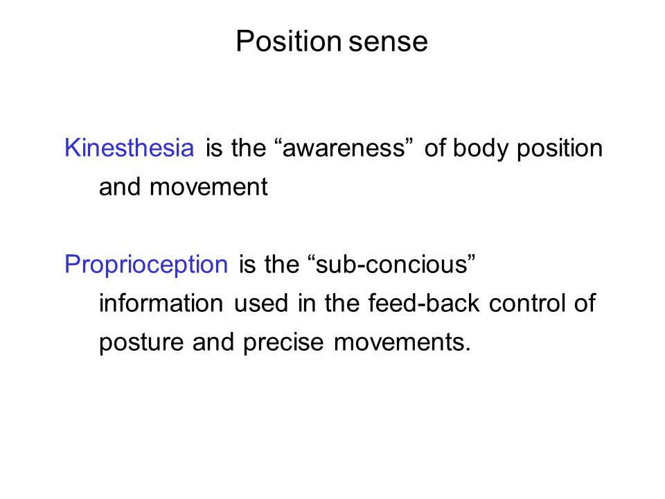 Position sense Kinesthesia is the awareness of body position and movement.