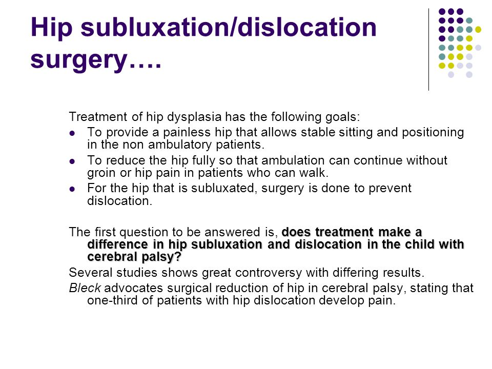 Hip subluxation/dislocation surgery….