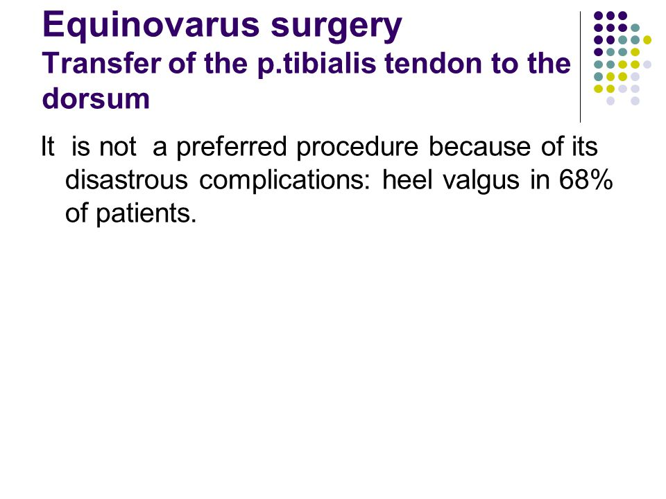 Equinovarus surgery Transfer of the p.tibialis tendon to the dorsum