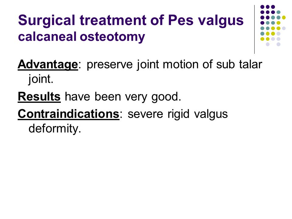 Surgical treatment of Pes valgus calcaneal osteotomy
