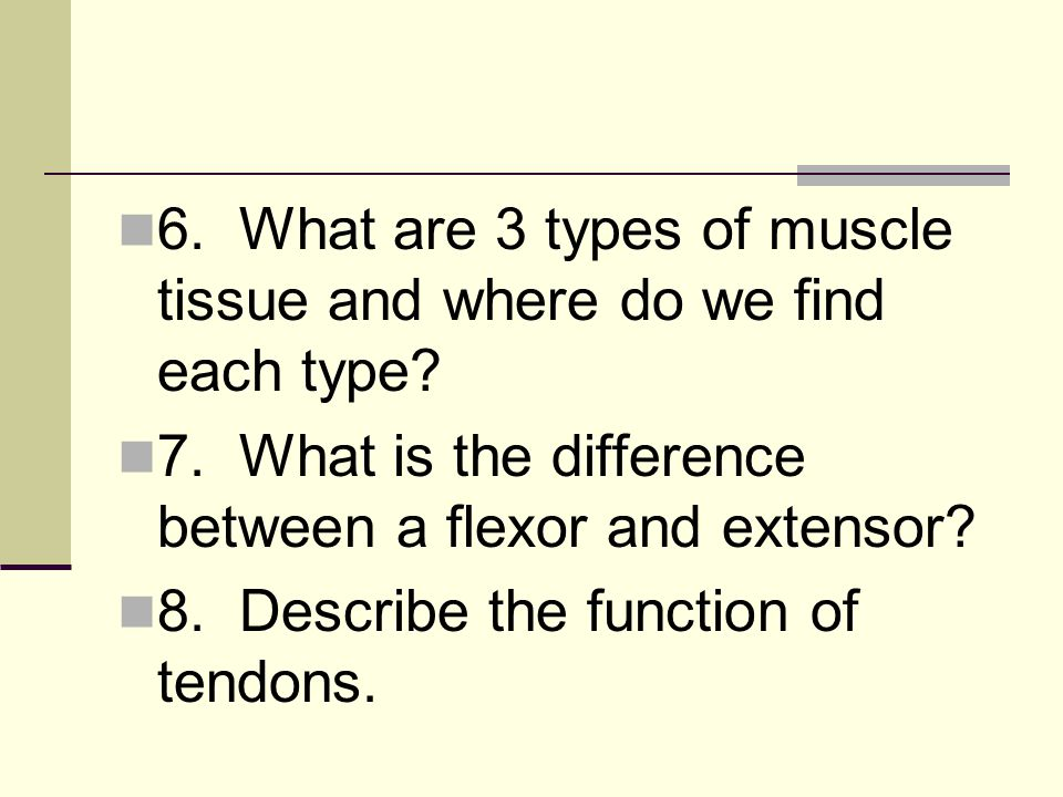 6. What are 3 types of muscle tissue and where do we find each type