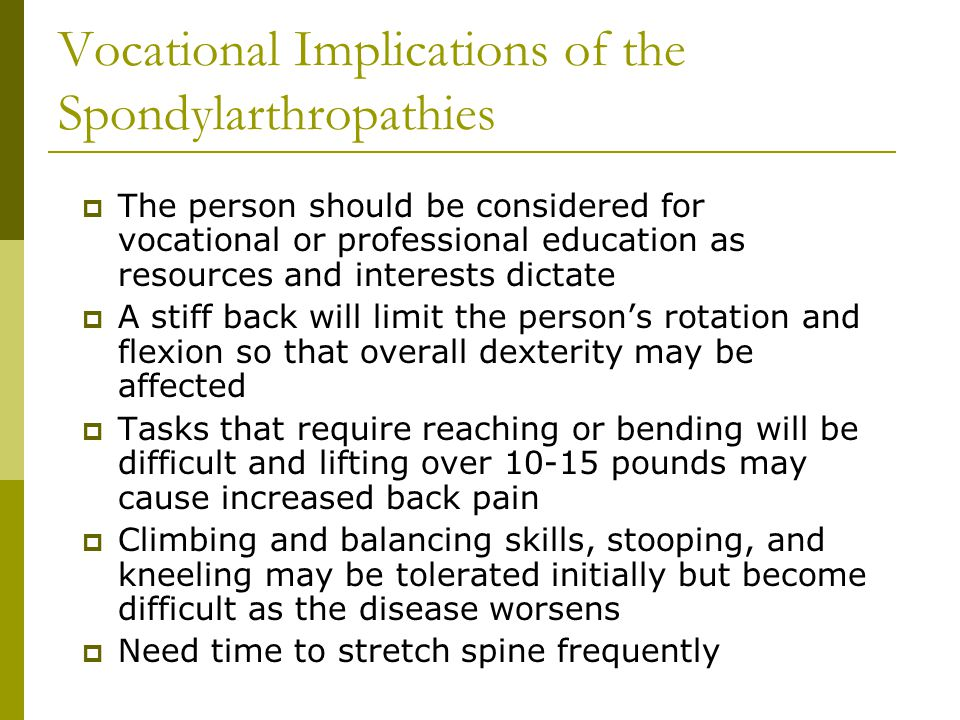 Vocational Implications of the Spondylarthropathies
